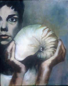 Hand drawn portrait of A woman holding a sea shell