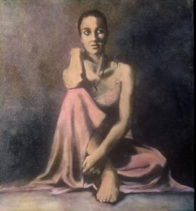 portrait image painting of a woman in a dress sitting in the floor